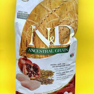 N&D ANCESTRAL GRAIN – Pollo, farro, avena e melograno